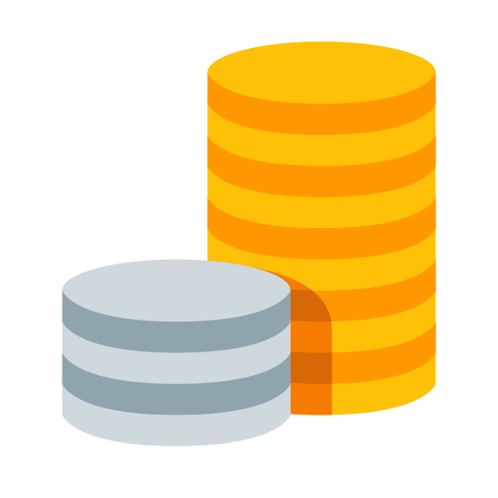 Coins icon. Two stacks of objects that could be coins. The stacks resembles vertical cylinders. The first stack is placed at 45 degree angle in front of the second stack. The first stack has three coins, placed on top of each other. The second stack, placed behind the first stack, has four coins.