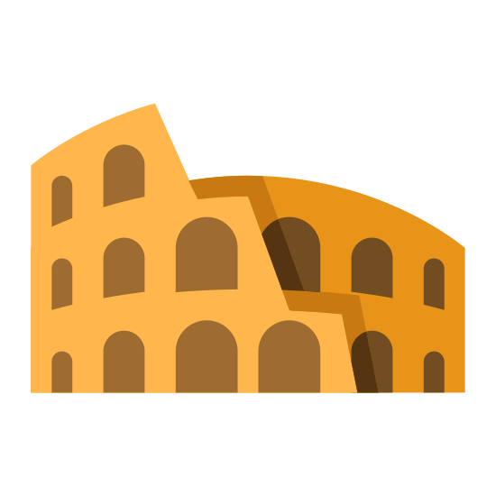 Coliseo icon. The roman colosseum viewed from the side, long abandoned and falling apart at the top right. Jagged edges form what used to be a cylindrical shape, but much is missing.