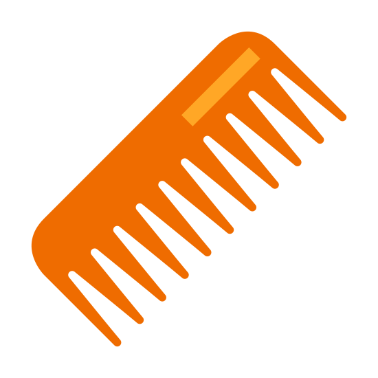 Расческа icon. The comb is small with tons of little sharp blades lined up along the edge so that you can do your hair. It has a handle to grasp onto as you run it through your hair.