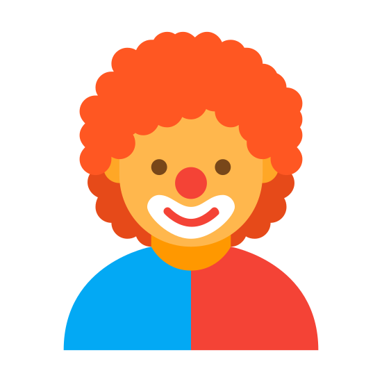 Komedia 2 icon. This is a rendering of a clown wearing a hat with a rounded top, a circular nose and a curved large smile. It does not depict his eyes or other facial features.