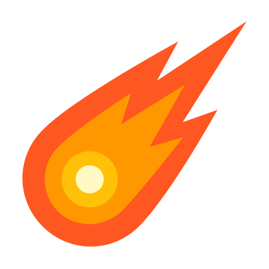 Comet icon. It's a logo of a circle in the lower left and then around the circle, which is the comet, is a large image enveloping the circle of the fire trail which is circular on the lower left but going to the upper right becomes the tail with three sharp points coming out.