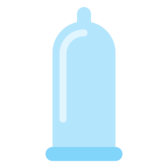 Prezerwatywa icon. It's a logo of Condom, reduced to a picture of a small rubber balloon. The balloon is rectangular and it has a pointed tip. Condoms are used to practice safe sex.