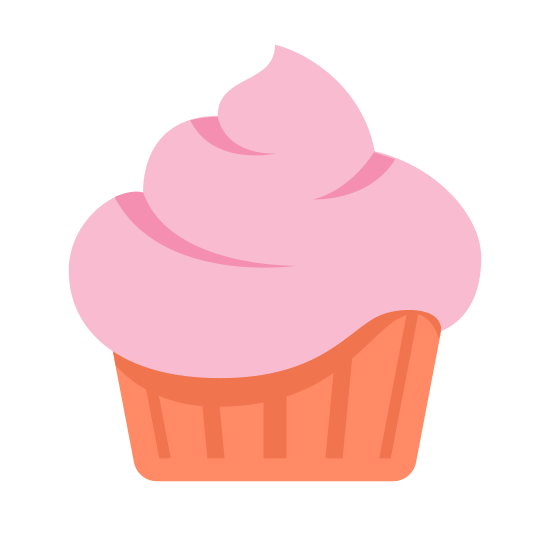 Confectionery icon. Its a cupcake with a large portion of frosting which is swirled as it spirals up the top of the cupcake. At the bottom of the cupcake there frosting and is much more rigid with vertical parallel lines where the ribs of the paper the the cupcake is in.