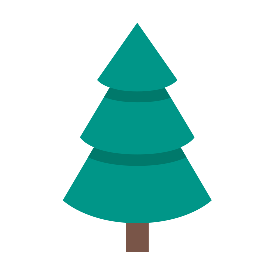Evergreen icon. A tree with three levels of branches, with the top being the smallest and the bottom being the largest, like a Christmas tree.