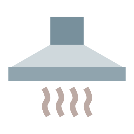 Cooker Hood icon. This is a picture of an oven vent coming from the ceiling (but the ceiling is not pictured). There is smoke coming out of the bottom of the vent, and you can see a small tunnel up above it.