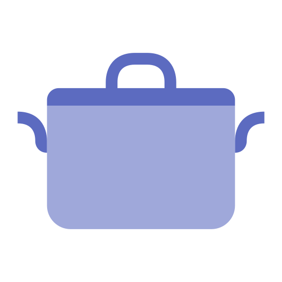 Garnek icon. This icon is a large stove pot for cooking. It has a lid with a handle on it. It also has two handles on each side of the pot to pick it up.