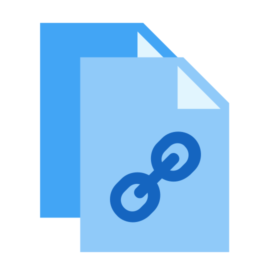 Copy Link icon. The image is two sheets of paper, one partially overlapping the other to the lower left, with three chain links comprising a short chain on the overlapping sheet. It symbolizes placing the link to the resource in the user's clipboard.