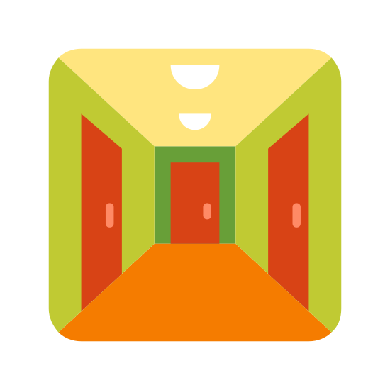 Corridor icon. It's an icon representing a corridor.  It is simple in design and conveys the image that you are walking down a hallway.  The hallway has paneling lining the corridor and gets smaller size until it reaches the end.