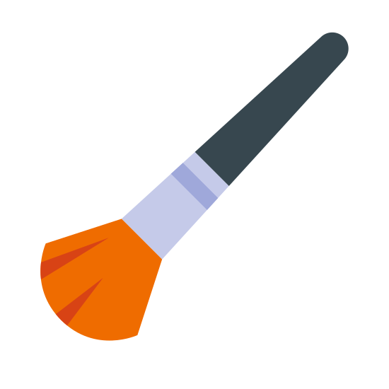 Cosmetic Brush icon. The logo is of a cosmetic brush, with the bristles of the brush facing down and to the left.  The handle of the brush points to the top right and is widest near the bristles, narrowing to a point at the top.