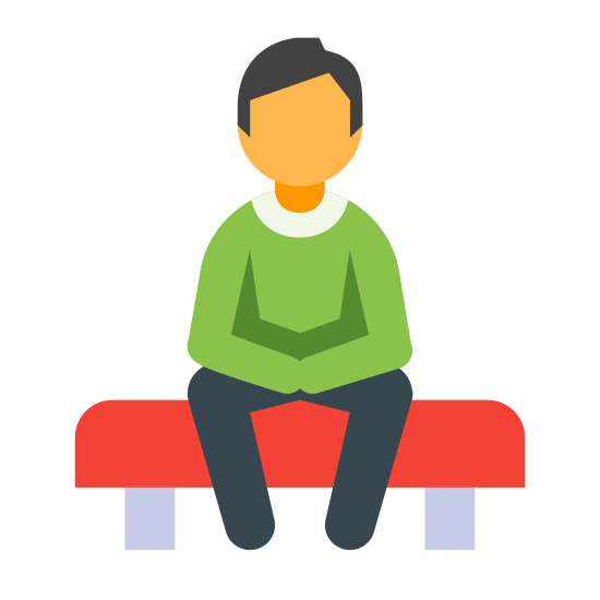 Counselor icon. This icon has a figure of an outlined person that is sitting on top of a rectangular bench.  the figure is sitting with its hands crossed over each other.  The circle that represents the head has no dots or lines that resemble features.