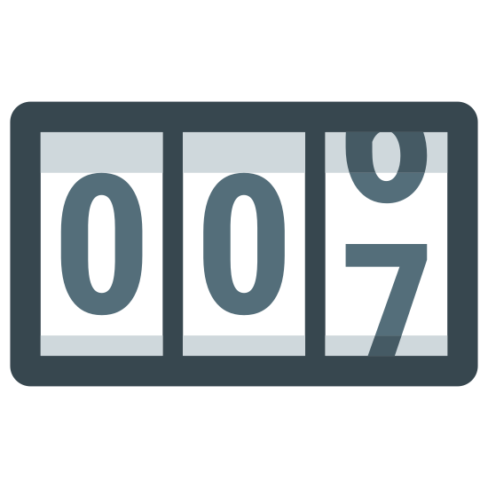 "Licznik icon. There are three small, vertically placed rectangles right next to one another. In each of these rectangles there is a number that is designed to move. Currently, the first two rectangles show the number ""zero"" and the third is changing from ""six"" to ""seven."""