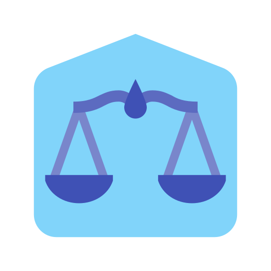 Courthouse icon. This icon represents a courthouse. It has a square shape with a roof on top to depict the courthouse. Inside the square are scales that are balanced but there is nothing in them.