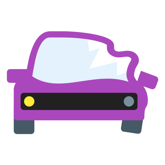 Crashed Car icon. It's a logo of a crashed car evident by one side of the car looking intact and the other side damaged. The view is from the front and you can make out the window shield, front lights, and tires. The right side looks damaged and has a cracked front light.