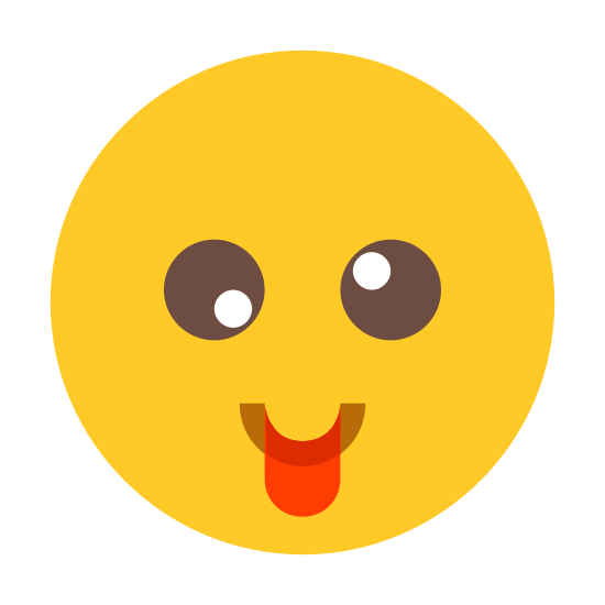 Crazy icon. This is an icon representing the emotion, crazy. It is an emoji with just the head of the stick figure. The eyes are closed and curvy lines that are flipped for each side. It is sticking its tongue out as well.