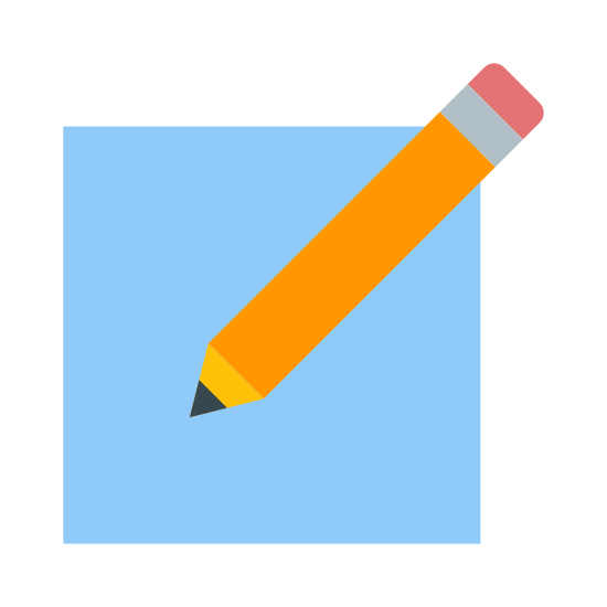 Create icon. The icon is a picture of a logo for Create New. The icon is in the shape of a square. The square has a pencil located at the top right. The pencils tip is facing down to the left.