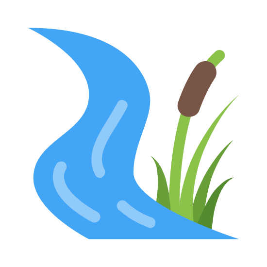 Creek icon. A winding creek next to a tuft of tall grass and a typha (the plant that looks like a corn dog). There's nothing swimming in the creek, and there seems to be a slight breeze.