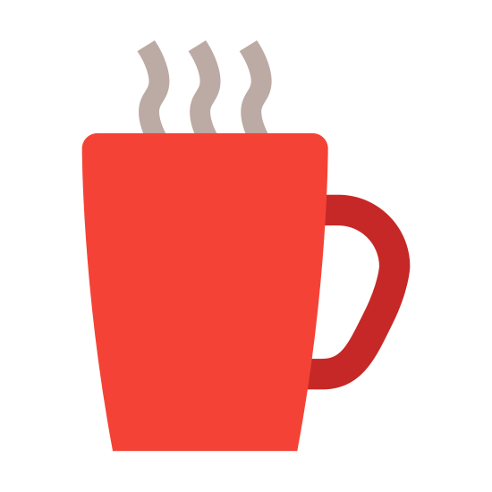 Cup icon. The main body of the cup in an almost square shape. It is slightly taller than wide. Attached to the right-hand side of the cup in a backwards c-shaped handle. Just above the cup are 2 squiggle lines which represent the steam rising from the cup of coffee.