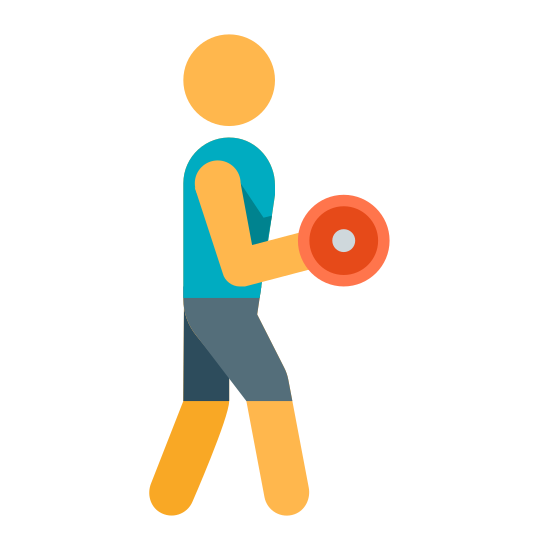 Curls With Dumbbells icon. This icon is depicting a figure lifting a dumbbell weight performing a bicep curl. The person is standing profile facing the right with one arm raised while holding a circular object.