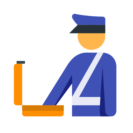 Customs icon. It's a simple image of a person wearing a cap (that looks like a police officer's hat) and sash that cuts across the chest. The person has it's arm extended into a suitcase that is open.