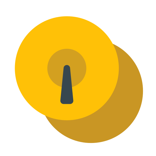 Cymbals icon. This icon is two circles, one on top of the other with the bottom circle showing to the bottom/right of the top circle. Inside the top circle there is another circle about 1/3 of its diameter. Inside that smaller circle there is a filled in dot.