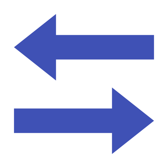 Dane w obu kierunkach icon. The logo displays two arrows, parallel to one another. The top arrow is pointing directly to the immediate right. Below that arrow is an arrow pointing directly to the immediate left.