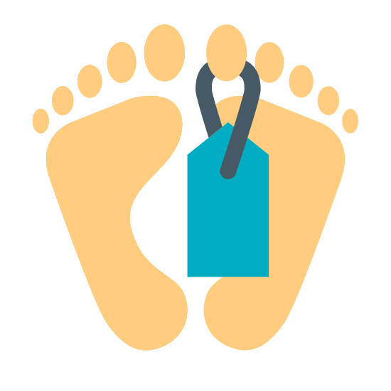 Śmierć icon. It is the icon for death. It consists of an outline of the bottom soles of 2 feet. A toe tag that is square with a pointed top hangs down from the right big toe.