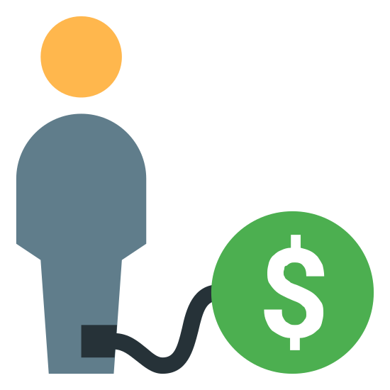 """Debt icon. The """"debt"""" icon is a picture of a man.  It is represented by a general outline of a body and a circle on the top for a head.  In addition to the body, there is a tether around its right ankle.  The tether is attached to a circle that has a money symbol inside.  the money symbol is the letter """"s"""" with 2 small line protruding slightly from the top and bottom."""