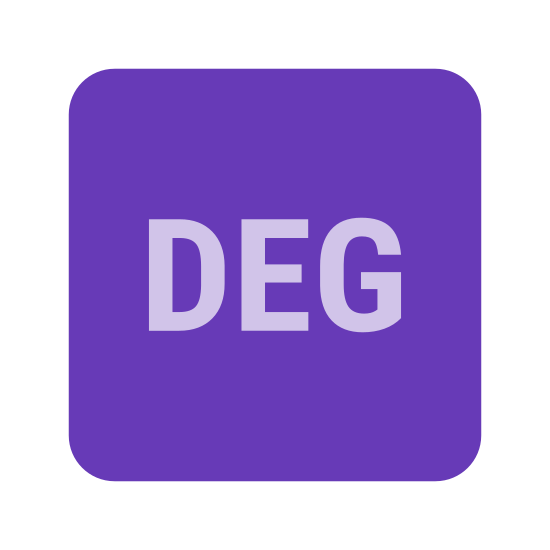 "Deg icon. This is a picture of a box or page that has rounded corners. in the center of the box are the letters ""DEG"" in a horizontal direction. they are all capital letters."