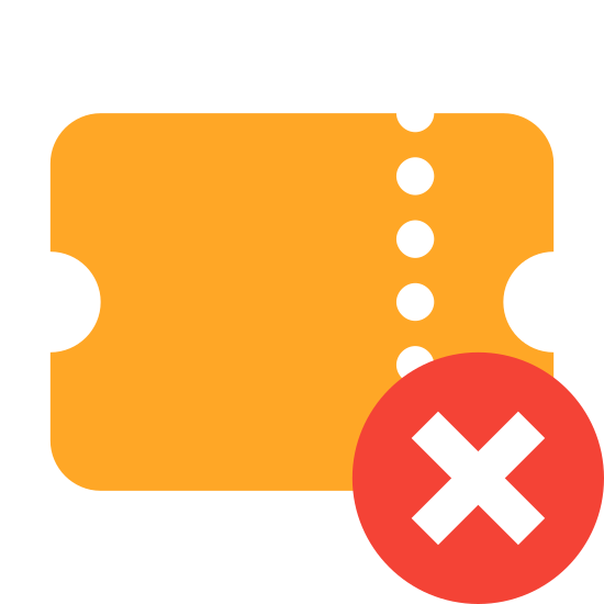 "Delete Ticket icon. It's an image of a movie ticket or raffle ticket oriented diagonally with a dashed line running across the top to indicate a perforation. There is a plus symbol enclosed in a circle placed over the lower center line of the ticket to indicate: ""add ticket."""
