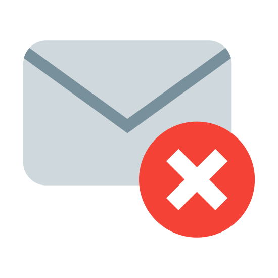 """Wiadomość usunięta icon. The icon for Deleted Message is mostly in the shape of an envelope. It has a circle that has an """"x"""" in the middle of it, located on the bottom right hand corner."""