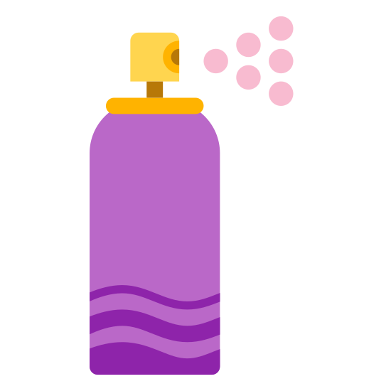 Spray icon. This is an image of a tall cylindrical can with a pointed top. At the top of it there is a little button there the spray comes out. On the cylindrical can is a little circle where the label of the product would be.