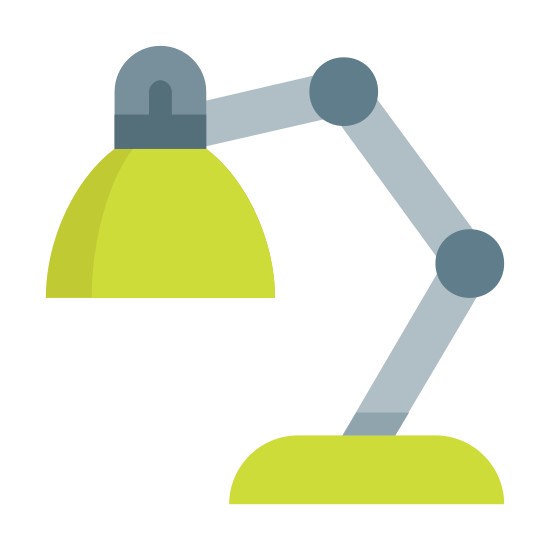 Desk Lamp icon. This is a picture of a desk lamp that is curved and leaning forward. it has two joints that are each curved at an angle, allowing the lamp to bend. it has a flat bottom and circular top