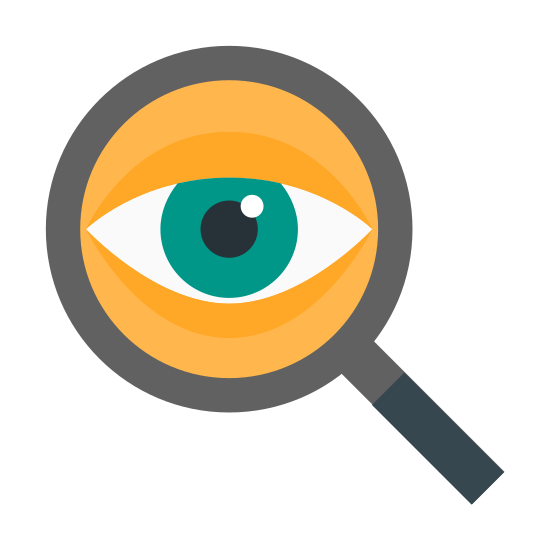 Espionaje icon. The icon consists of a stylized eye within a magnifying glass. The eye is composed of curved lines and a solid black circle, and the magnifying glass is the standard circle with a rectangle handle. This symbolizes an eye investigating something.