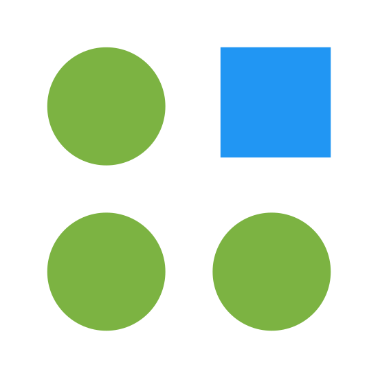 Odchylenie icon. These are four circles and a square, aligned in a four by four pattern. The top-right shape is the square.