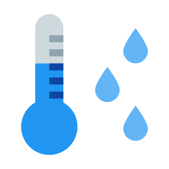 Punkt rosy icon. This is a picture of a thermometer and you can see the mercury in it. it has lines for telling the temperature, and to the right hand side of it are three drops of dew or water.