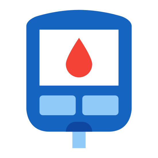 Glucometer icon. This image is of a ( main shape) small sideways rectangle shape with a small square in the center and two very small vertical rectangles on the inside lower half of the main shape. There is also a teardrop shape in the very center of the icon.
