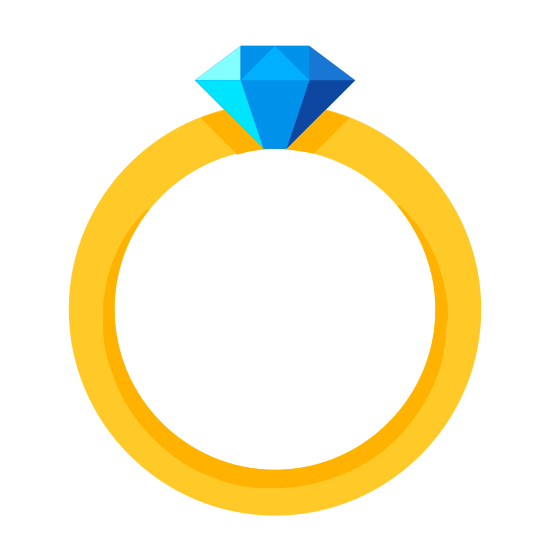 Diamond Ring icon. The image is a circular shaped ring. It features a thin layer around the entire piece and the diamond pendant is on top of it. The pendant is relatively small, regularly shaped like a hexagon and is divided by a horizontal line.
