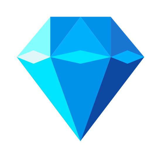Diamante icon. This icon is the standard depiction of a diamond. It is the kind you associate with jewelry, a flat top, with geometrically cut sides, and comes together in a sharp, triangular bottom.