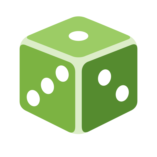 Игральная кость icon. There is a cube with rounded edges. The cube has three diagonal dots on the side facing the viewer and the other visible side on top has one dot visible.