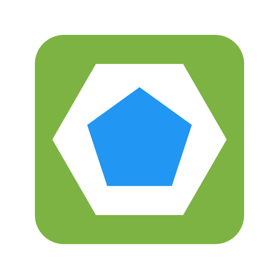 Discrepancy icon. The image is a large square. Inside the square is a smaller six sided hexagon. Inside the hexagon is the smallest shape. It's a pentagon. All shapes have a flat side on the bottom.