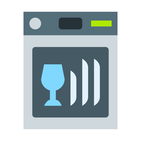 Dishwasher icon. It's a logo of a dishwasher which looks like a square with a line across the top portion with three dots in the upper right representing knobs. Below the line in the bigger area is a fat wine glass on the left and two things on the right which look like handles.