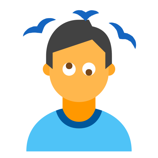 Alcoholic icon. The icon is a logo of Dizzy Person 2. The icon is what appears to be a human beings head, with no mouth. The persons eyes are both facing a different direction, up and down. there are birds flying above the persons head, as if he was unconscious in a cartoon.