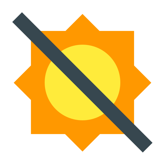 No exponer a la luz del sol icon. There is a circle with ten small lines radiating from it's outline on the outside. In addition, there is one long large diagonal line descending from the top left, cutting through the circle's middle and ending to the bottom and right of it.