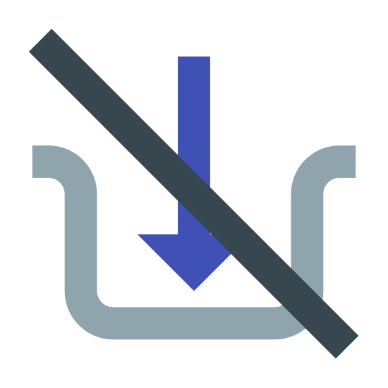 Nie wolno wkładać icon. The icon is a picture of a logo for Do Not Insert. The shape of the icon appears to be a cup like object. The object has an arrow pointing down in the middle of it. There is also a slash through the entire icon.