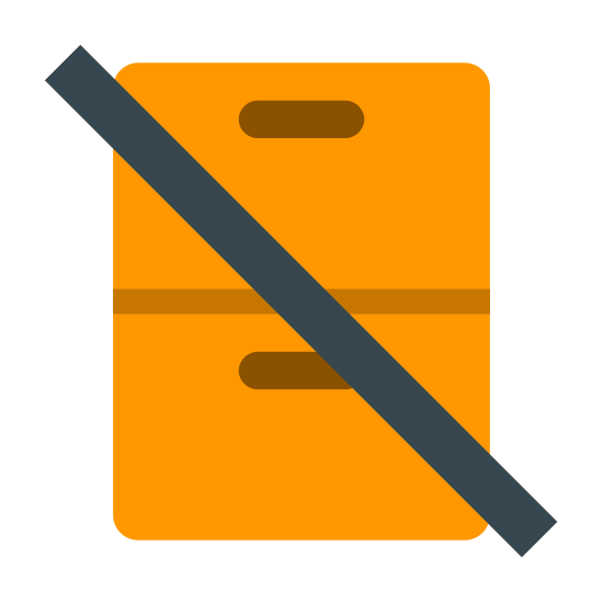 Do Not Stack icon. This icon has two three dimensional boxes that are sitting on top of each other.  A long slanted, horizontal line is going through the middle of both of the boxes.
