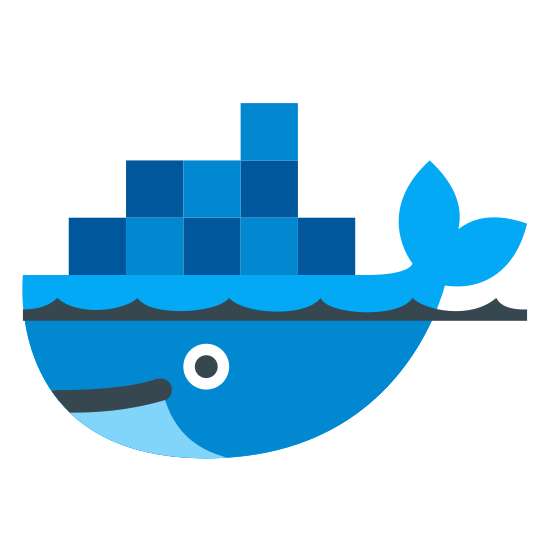 Docker icon. There appears to be a whale on the bottom. it has beady eyes and appears to have a smile on. it is in the water and there are blocks on it