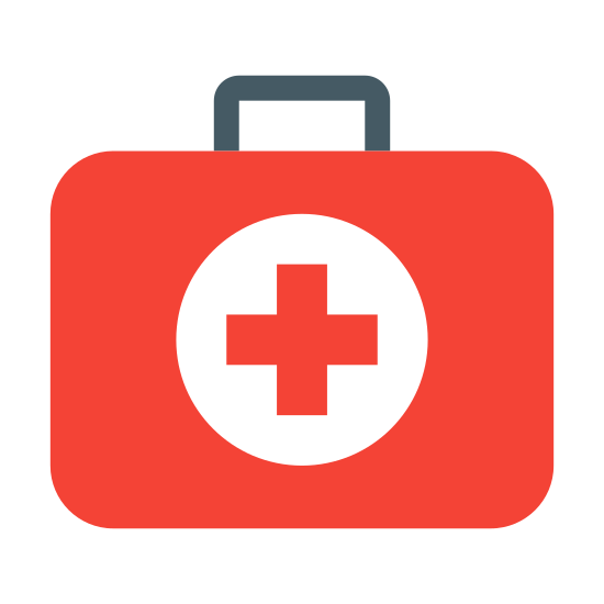 Doctors Bag icon. The image is of a medical case. There is a handle at the top and two latches on the front. There is a medical plus sign on the front of the case. The case is closed by they latches on it.