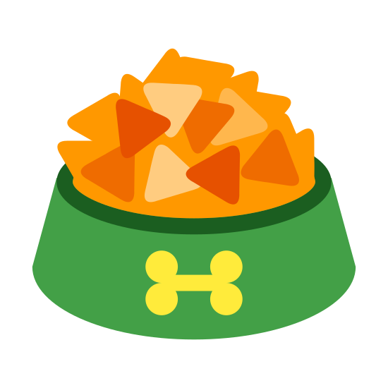 Dog Bowl icon. This icon describes a dog bowl. It is a round object with a dip in the center. The dip is the part that is holding the food. The front of the bowl has a small bone on it.