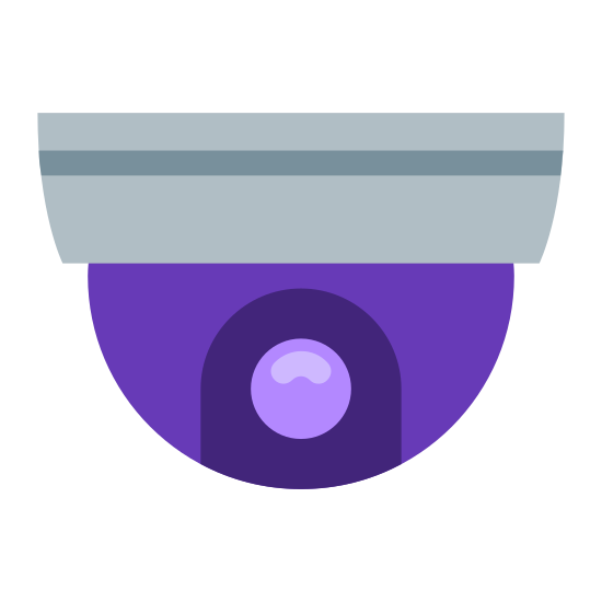 Dome Camera icon. A dome camera is an object that is the bottom half of a half circle, and attached to it is a base but the base is on the top instead of the bottom. Inside the half circle or dome there is a camera attached to it.