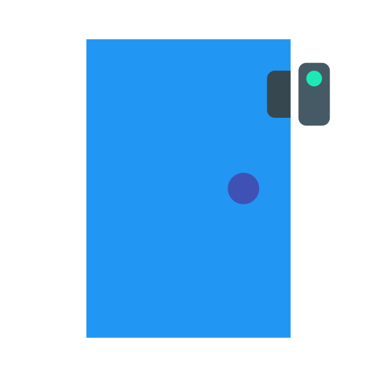 Door Sensor icon. Its a logo of a rectangle door with a handle. Above the handle is a sensor that is also shaped like a rectangle, however much smaller because it is latched onto the door. To the right of this sensor, is another shape that is a little larger then the sensor, that is not on the door.